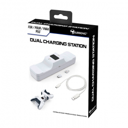 Subsonic - White charging station for 2 Dual Sense PS5 controllers - Dual charging station for Playstation 5 controller